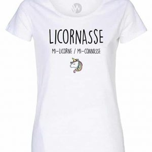 Femme Top T-Shirt Message Humour Licornasse