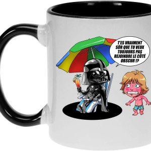 Mug Noir Star Wars parodique Luke Skywalker, Dark Vador et Le côté obscur : Le Pouvoir du côté Obscur.