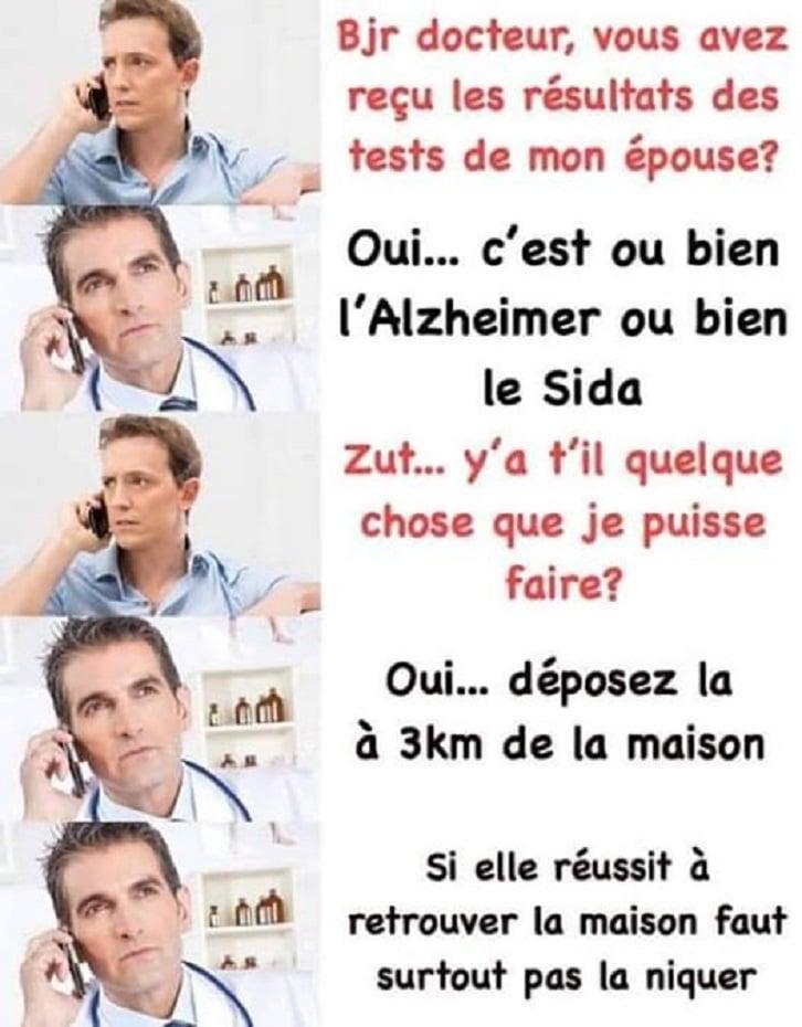 Bonjour docteur, vous avez reçu les résultats des tests de mon épouse