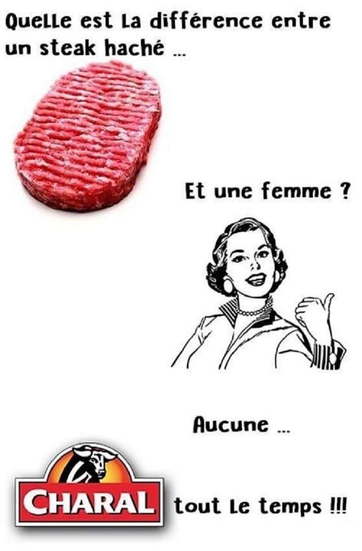 Quelle est la différence entre un steak haché et une femme