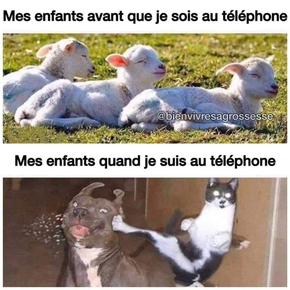 Mes enfants avant que je sois au téléphone