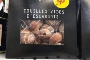 Couilles vides d'escargots.